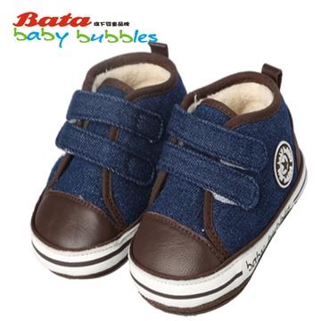 bata童鞋宝宝棉鞋子儿童帆布鞋女童婴儿软底鞋男童鞋