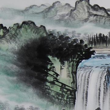 国画名家原创手绘写意山水画四尺整纸横幅瀑布聚宝盆客厅会议室酒店